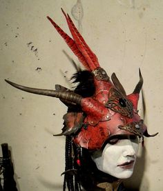 Dragon Butterfly Fae  leather helm with real horns, feathers, various stones..onyx.,red corral