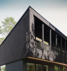 Swedish architect Max Holst used a traditional Swedish paint to give an all-black appearance to the exterior of this woodland house outside Stockholm.