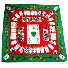"""Vintage Moschino Couture """" Ace of Hearts """" Joker Oversized Jumbo Silk Scarf   From a collection of rare vintage scarves at https://www.1stdibs.com/fashion/accessories/scarves/"""