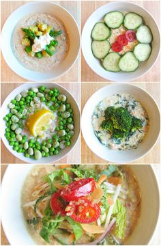 Savory Oatmeal for breakfast, lunch or even dinner! Think Asian Congee and change up your usual oatmeal or rice dishes.