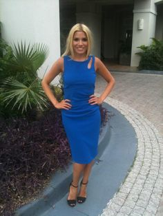 Tabby Richards in blue Style Ideas, Dresses For Work, Celebrities, Blue, Fashion, Moda, Fashion Styles, Celebs, Fashion Illustrations