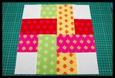 quilt block inspiration for a handmade card: woven block ... should be pretty easy to replicate in paper ...
