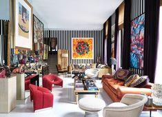 Maximalist Interior, Red Velvet Chair, Interior Decorating, Interior Design, Luxury Interior, Elegant Living Room, Paris Apartments, Retro Furniture, White Walls