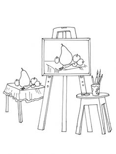 Thema kunst voor kleuters, kleurplaat / Art theme for preschool, coloring page