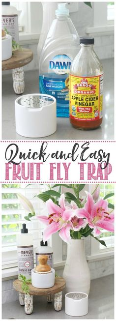 Great tips on how to get rid of fruit flies and an easy DIY fruit fly trap that actually looks pretty! / #fruitflies #DIY #cleaningtips #greencleaning House Cleaning Tips, Green Cleaning, Cleaning Hacks, Diy Fruit Fly Trap, Cooking Recipes, Healthy Recipes, Healthy Food, Organic Apple Cider Vinegar, Fruit Flies