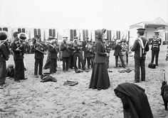 Salvation Army Band on beach, 1900