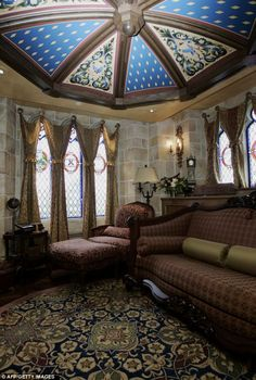 An interior view of the sitting room in the royal suite inside Cinderellas Castle. You can't buy your way in here. It's a randomly selected privilege, making it all the more awesome!