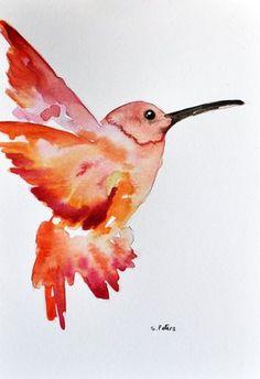 ORIGINAL Aquarell Vogel Malerei 6 x 8 Zoll, Orange rot Hummingbird