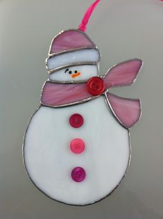 """Stained Glass 7"""" Snowman Ornament"""