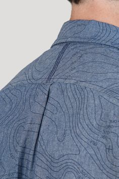 Contour Map Print - Blue Shirt