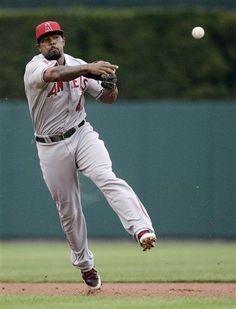 Game #92 7/18/12: Los Angeles Angels second baseman Howard Kendrick throws out Detroit Tigers' Ryan Rayburn at first base in the first inning of a baseball game Wednesday, July 18, 2012, in Detroit. (AP Photo/Duane Burleson)