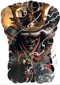 Samurai Tattoo Sleeve, Sleeve Tattoos, Body Art Tattoos, Back Tattoos, Japanese Tattoo Art, Japanese Tattoo Designs, Tattoo Designs Men, Japan Tattoo Design, Small Chest Tattoos