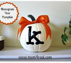 Monogrammed Pumpkin :: use mini pumpkins and names as place cards