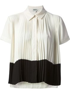 Off white and black block colour cropped shirt from Kenzo featuring a classic collar, a concealed front button placket, short sleeves, pleated details, a panelled colour block design and a cropped length.