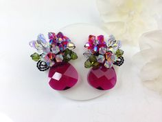 Statement earrings Vintage design crystal post by PastelGems, £28.00