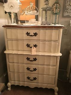 Cottage White and stained wood dresser. We painted the handles espresso.