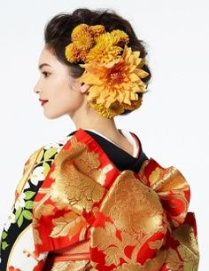 Hair & make Wedding Girl, Bridal Beauty, Japanese Hairstyles, Kimono, Japanese Style, Hair Styles, Flowers, How To Make, Fashion