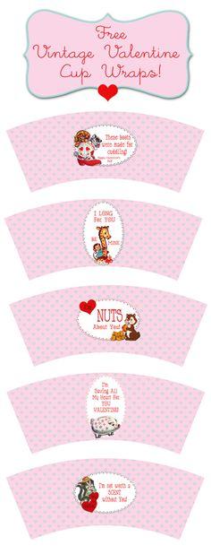 vintage valentines cupcake wraps {free printable}