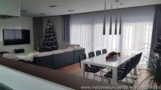 Dark Floor Living Room, Living Room Designs, House Design, Curtains, Flooring, Lights, Interior Design, Modern, Table