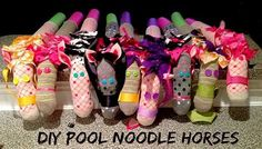 DIY Pool Noodle Horses Perfect stick horses for a cowboy or cowgirl party Or - The world's most private search engine Horse Birthday Parties, Cowgirl Birthday, Cowgirl Party, Farm Birthday, Pirate Party, Birthday Ideas, Lalaloopsy, Pool Noodle Horse, Sheriff Callie Birthday
