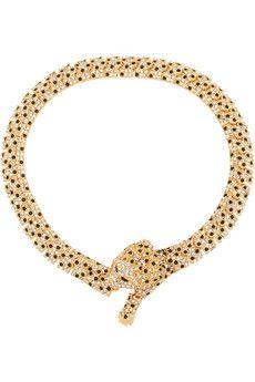 Saint Laurent Gold-plated crystal necklace | NET-A-PORTER