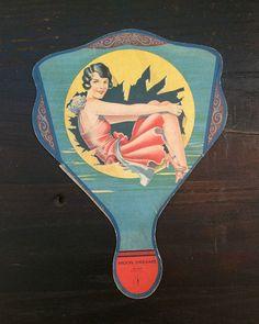 Stunning 1920s Hand Fan Cardboard Advertising Fan от tinprincess