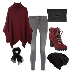 """""""red winter"""" by ilmadhinautari on Polyvore featuring MiH Jeans, Nine West, Givenchy, Free People and Lacoste"""