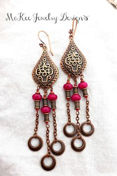 Copper and pink gemstone earrings. Long bohemian jewelry. Handmade jewelry, handmade jewellery, fashion, accessories, artisan,