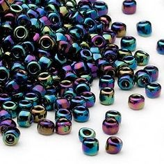 Seed bead, Dyna-Mites™, glass, transparent rainbow iris,