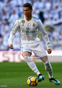 Cristiano Ronaldo of Real Madrid in action during the La Liga match between Real Madrid and Deportivo de La Coruna at Estadio Santiago Bernabeu on January 21, 2018 in Madrid, Spain.