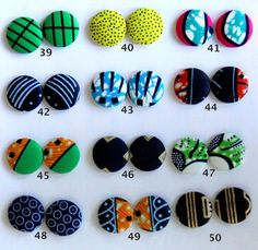 African Fabric Covered Earrings Sold Per Pair by AZVKA on Etsy