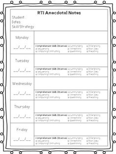 Anecdotal notes for math reading and behavior anecdotal notes rti anecdotal notes rti responsetointervention more fandeluxe Images