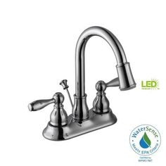 Glacier Bay Mandouri 4 in. Centerset 2-Handle LED High-Arc Bathroom Faucet in Chrome - 67513W-6401 - The Home Depot
