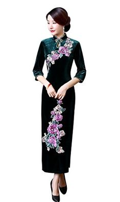 1db4a0a845bc ACVIP Women s Flower Embroidered Half Sleeve Velvet Evening Chinese Dresses Cheongsam  Qipao - Green