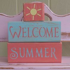 Chunky Wooden Blocks- Welcome Summer- Room Decor. $18.00, via Etsy.