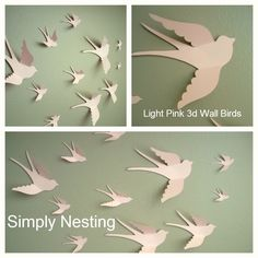 HOLIDAY SALE Free Shipping Us...20 3d Paper Wall Birds, Nursery Decor, DIY Mobile, Paper Wall Art...Choose your color. $14.25, via Etsy.