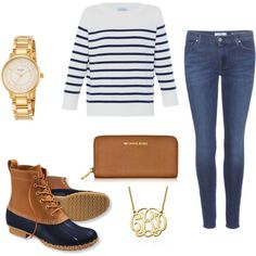 Bean Boots by sarahwinterssc on Polyvore featuring polyvore fashion style HANIA by Anya Cole 7 For All Mankind L.L.Bean Michael Kors Kate Spade My Name Necklace