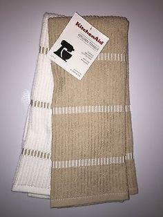 KITCHENAID 2 PACK COTTON TERRY KITCHEN TOWELS SAND / WHITE NWT