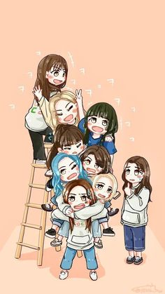 Twice idol room Kpop Girl Groups, Korean Girl Groups, Kpop Girls, Manga K, Kpop Anime, Chibi Wallpaper, Twice Album, Twice Fanart, Chaeyoung Twice