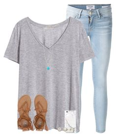 """""""RTD!!"""" by serenag123 ❤ liked on Polyvore featuring Frame Denim, H&M, russell+hazel, Kendra Scott, Honora and Billabong"""