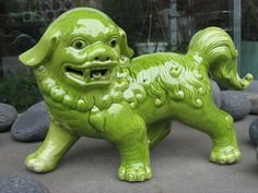Chinese Foo dog bringing tranquility and serenity to the garden.