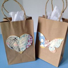 Cute home decorated gift bag craftiness pinterest 4 handmade decorated gift bag wedding vintage cutter quilt butterfly heart negle Gallery