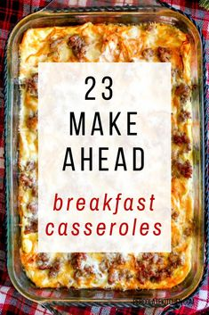 23 Make Ahead Breakfast Casseroles - start the day with a tasty and easy to make dish that the whole family will love. Grab these 23 ideas for breakfast casserole recipes! Recipes 23 Make Ahead Breakfast Casseroles - Overnight Breakfast Casserole, Gluten Free Breakfast Casserole, Easy Egg Casserole, Brunch Casserole, Casserole Dishes, Overnight Egg Bake, Easy Egg Bake, Eggs Benedict Casserole, Farmers Casserole