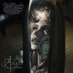 Jaw-Dropping Face Morph Tattoos By Arlo DiCristina - KickAss Things Girl Face Tattoo, Girl Tattoos, Tattoos For Guys, Great Tattoos, Beautiful Tattoos, Body Art Tattoos, Space Tattoos, Tattoo Ink, Space Tattoo Sleeve