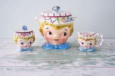 1950's Lefton Little Miss Dainty set  Cookie Jar by Pigeonatelier, $160.00
