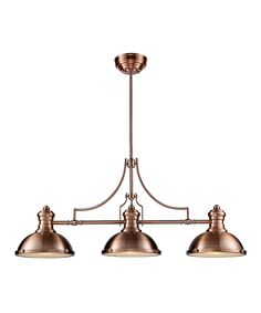 Take a look at this Antique Copper Three-Light Chadwick Billiard/Island Light today!