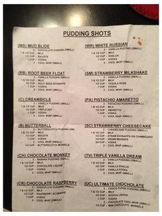 Pudding Shot Recipes, Jello Pudding Shots, Jello Shot Recipes, Alcohol Drink Recipes, Jello Shots, Chocolate Pudding Shots, Alcohol Shots, Vanilla Pudding Shots, Rumchata Pudding Shots