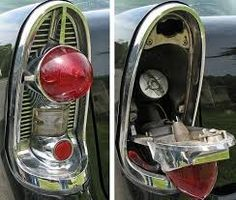 1956 Chevy Bel Air hides it's gas cap behind the tail light.  www.volocacrs.com