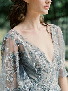 Modern War and Peace Wedding Inspiration in Blue and Silver - Sparkling Dusty Blue Wedding Dress with Flutter Sleeves A Line Evening Dress, Blue Evening Dresses, Blue Wedding Dresses, Blue Dresses, Dresses With Sleeves, Dress Wedding, Wedding Blue, Dusty Blue Dress, Sparkle Wedding