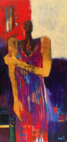 """The Right Decision by artist me! (marion evamy)... acrylic and mixed media on canvas. 48"""" x 24"""".  SOLD"""